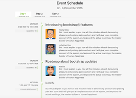 Bootstrap bs4 Event Schedule page example
