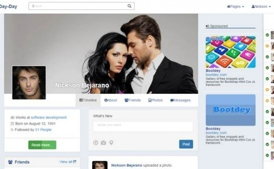 bootstrap Theme Day Day v1 bootstrap social network template
