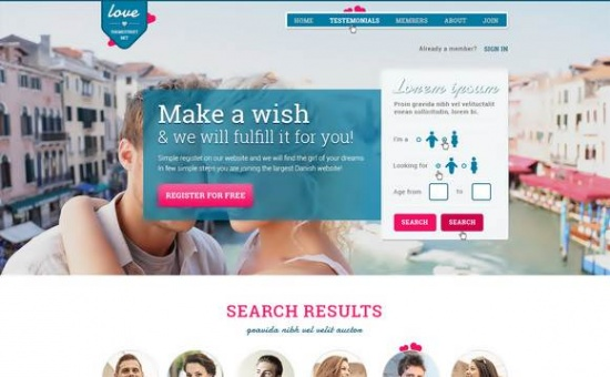 Bootstrap template Dating Paradise