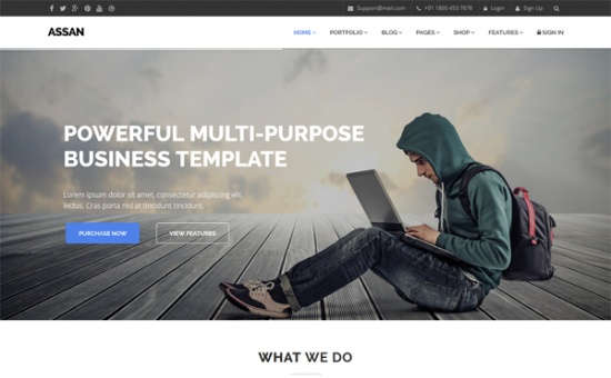 Bootstrap template Assan The Most Clean Powerful HTML5 Template