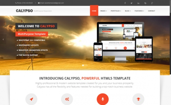 Bootstrap template Calypso MultiPurpose bootstrap Theme