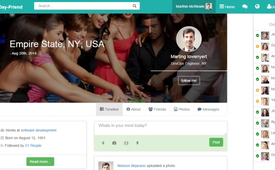Bootstrap template DayFriend Social Network Bootstrap template html