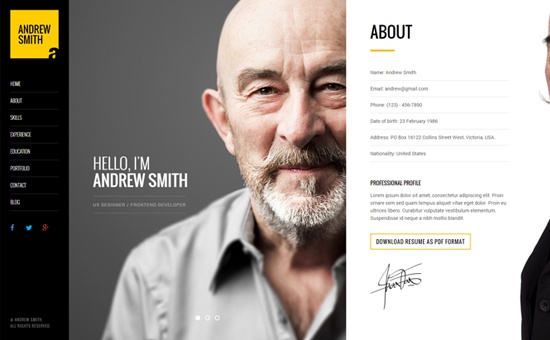 Bootstrap template MEE Responsive Resume and Personal Portfolio