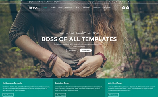 Bootstrap template BOSS Bootstrap Multipurpose Template