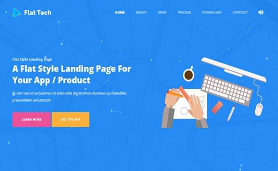 bootstrap Theme Flat Tech Bootstrap Flat Landing Page Template