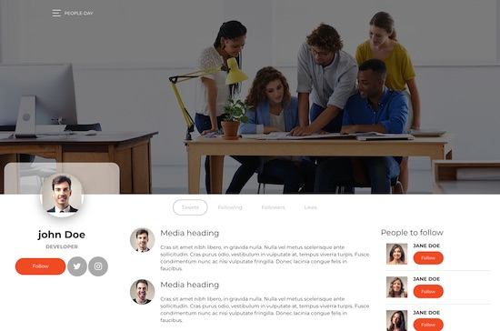 Bootstrap template People day bootstrap 4 social network template