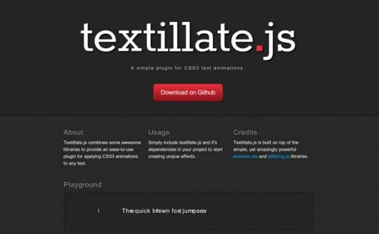 Bootstrap framework utility Textillate js