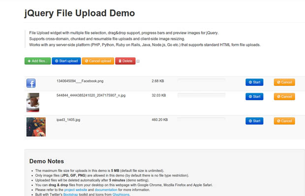 Bootstrap framework utility  jQuery File Upload