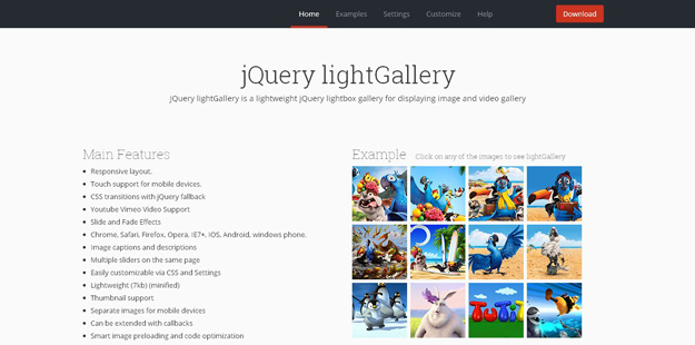 Utility jQuery lightGallery