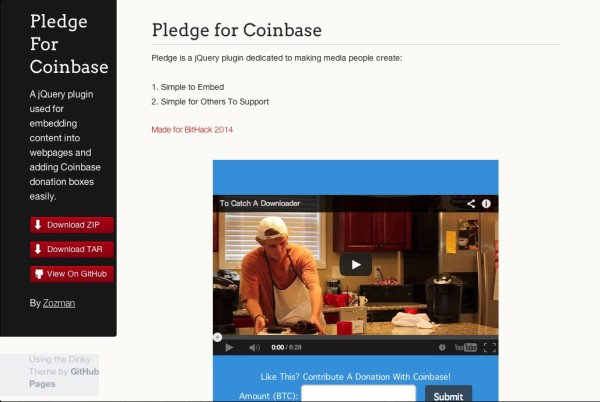Bootstrap framework utility Pledge For Coinbase