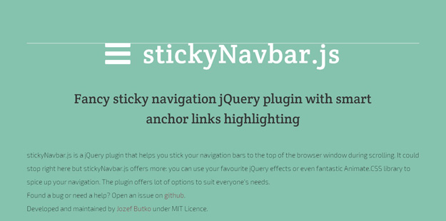 Bootstrap framework utility StickyNavbar js